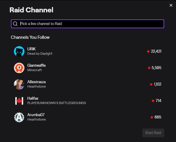 twitch stream manager raid button